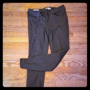 Skinny stretch roll up olive color jeans